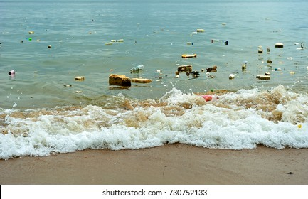Plastic pollution in ocean (Environment concept), selective focus.