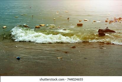 Plastic pollution in ocean (Environment concept)
