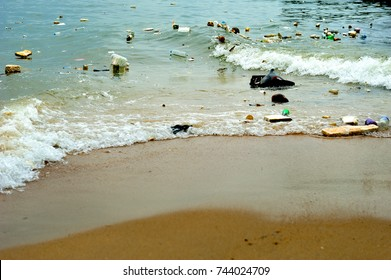 Plastic pollution in ocean (Environment concept)