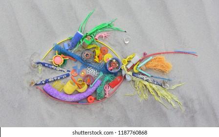Plastic pollution in ocean environmental problem. North sea beach.