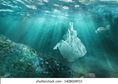 Plastic pollution in ocean environmental problem. Plastic bags and bottles pollute sea. Underwater trash.