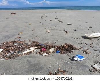 Plastic pollution on beach, Talaimannar, Sri Lanka