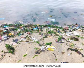 Plastic pollution on Singapore beach