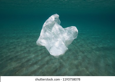 Plastic pollution underwater, a bag adrift in the ocean