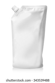 Plastic pouch with batcher. Isolated on a white. with clipping path