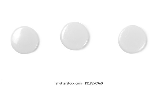 plastic pushpins isolated on white, clipping path
