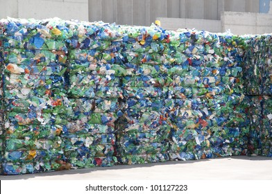 Plastic ready to be recycled in the yard of a company specializing in ecological treatments