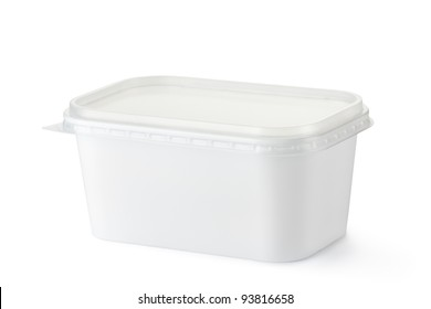Plastic rectangular container for dairy foods. Isolated on a white.