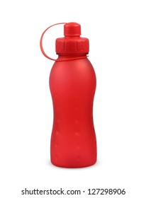 plastic red bottle on white background.
