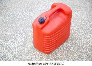 plastic red fuel canister