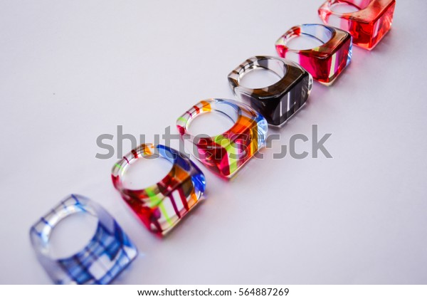 plastic rings, filled of strip and colorful inside.