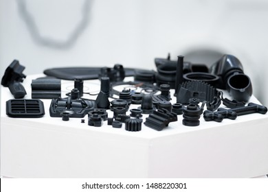 Plastic and rubber parts of automotive manufacturing by high precision mold injection in the industrial factory