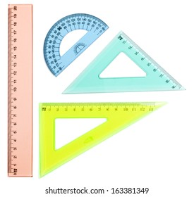 Plastic ruler, protractor, triangle, isolated on white background