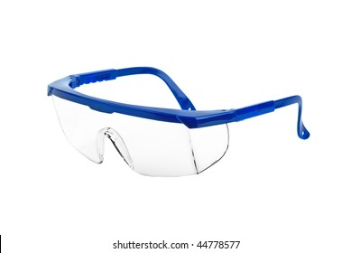 Plastic safety goggles isolated on the white background