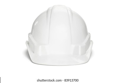 Plastic safety helmet on white background