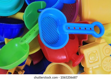 plastic sand toys as nice color background