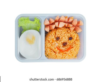 Plastic school lunch box for kids with funny face of fried rice and egg isolated on white background.Bento packed