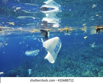 Plastic sea pollution Save planet