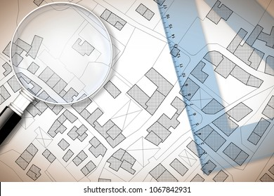 Plastic set square and magnifying glass over an imaginary cadastral map of territory with buildings, fields and roads - 3D render concept image with copy space