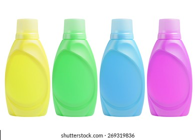 Plastic Shampoo Bottles on White Background
