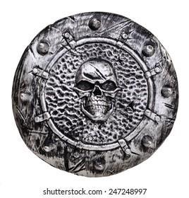 Plastic Shield with skull emblem on white background