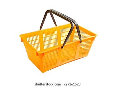 Plastic shopping basket isolated on white background
