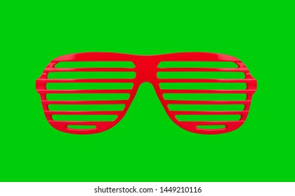 Plastic shutter shades sunglasses isolated on green background