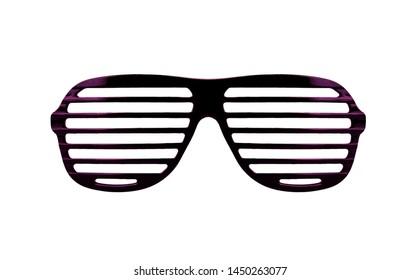 Plastic shutter shades sunglasses isolated on white background