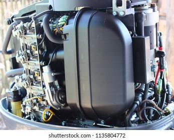 Plastic silencer for outboard motor intake, carburetors and fuel filter-petrol engine power supply system