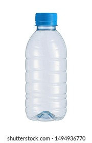 Plastic small water bottle disposable (with clipping path) isolated on white background