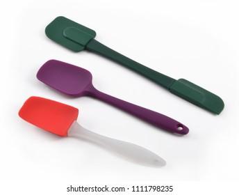 plastic spatula tool kitchenware isolated on white background