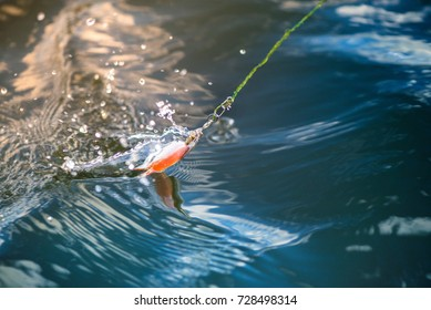 Plastic spinning bait catching fishes in water. Splashes, water drops around. Calm water background. Expensive fishing equipment. Favorite leisure activity for men at the weekend