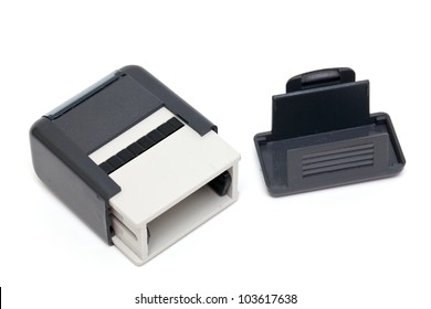 plastic stamp isolated on white background