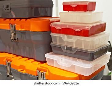 Plastic storage box for tools
