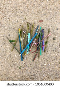 Plastic straws found on the beach in Singapore
