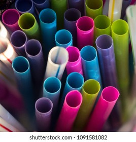 Plastic straws in multiple colors.