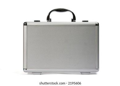 Plastic suitcase. Front view.