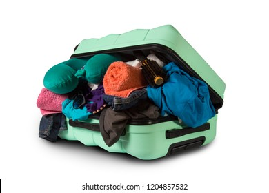 Plastic suitcase with wheels, overflowing things on a white back