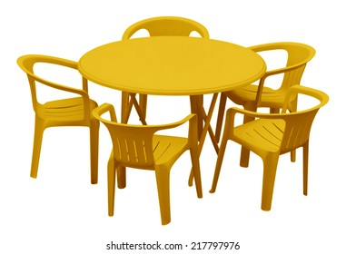 Plastic Table And Chairs Isolated On White Clipping Path Included