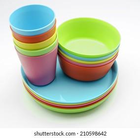 Plastic tableware in various colors