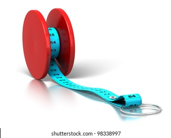 plastic tape measure rolled on a yo-yo over a white background