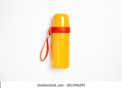 Plastic thermos isolated on white background.Thermos flask with cup.High resolution photo.