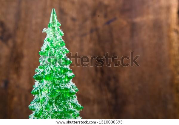 Tiny Christmas.Plastic Tiny Christmas Tree On Wooden Stock Photo Edit Now