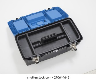 Plastic tool box on white