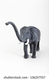 plastic toy animal elephant in white background