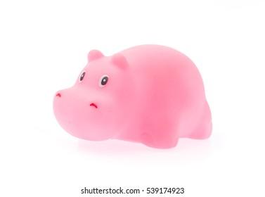 Plastic Toy Animal hippopotamus isolated on white background