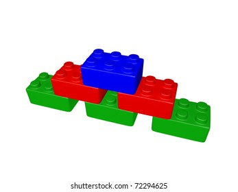 Plastic toy blocks - isolated