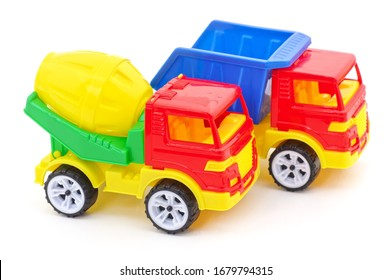 Plastic toy cars isolated on a white background.