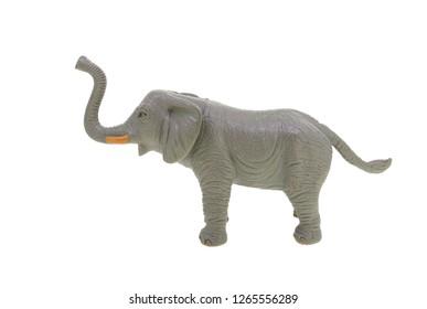 plastic toy elephant isolated over white background