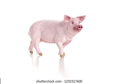 Plastic toy figurine of a pig isolated on a white background. The symbol of the New Year in 2019. Front view